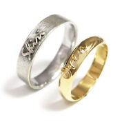 Hallmark Stamp 18k Solid White -yellow Gold Valentine Gift Couple Band All Size