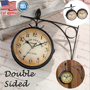 Hot Classic Retro Wall Clock Double Sided Outside Bracket Clock Home Decoration