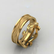 Hallmark Stamp 18k Solid Yellow Gold Beautiful Couple Band All Size Available