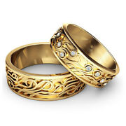 Certified 0.10 Ct Real Diamond Couple Band 18k Yellow Gold All Size Available