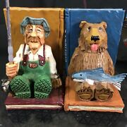 Rare David Frykman Portfolio Gone Fishing Bookends With Bear Getting The Fish😊