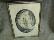 Rare Vintage 1920and039s Art Deco Lady And Swan Gaston Simoes De Fonseca Etching Print
