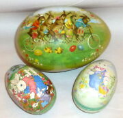 3 Vintage Germany Paper Mache Easter Eggs Bicycle Bunnies And Mama Gardener