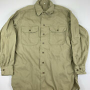 Vintage 40s 50s Military Khaki Long Sleeve Shirt 15 1/2 X 33 Gusset Issued