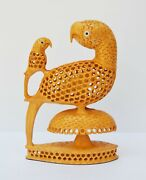 Indian Hand Carved Wooden Parrot Decorative Sculptures