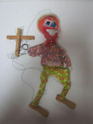 Vintage String Marionette Hobo Clown Composition Head Plastic Arms Wood Legs