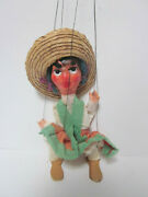 Vintage String Marionette Mexican Woman Composition Head Plastic Arms Wood Legs