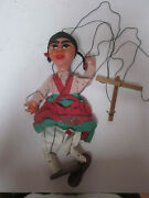 Vintage String Marionette Mexican Woman Composition Head And Arms And Wood Legs