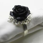 Black Rose Napkin Rings Table Decorations Silver Buckles For Banquet Wedding Etc