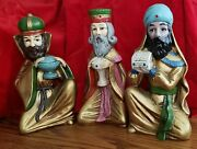 Vintage Gold Golden Jeweled Three 3 Wisemen Set In Box 10 Tall Christmas