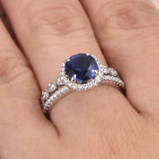 Solid 14k White Gold Real Diamond 2.60 Ct Blue Sapphire Ring Set Size 5 6 7 8 9
