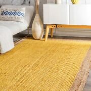 Hand Made Contemporary Modern Simple Braided Jute Area Rug In Natural Yellow Co