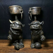 7.87 Collection Chinese Copper Hand Made Lion Candle Candlestick A Pair