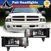 Led Headlights For 94-02 Dodge Ram 1500 2500 3500 Drl Front Lamps Black/clear