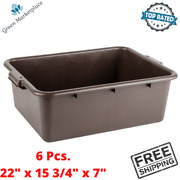 6 Pcs. Plastic Bus Tub Storage Stackable Brown For Soaking Flatware Dishes New