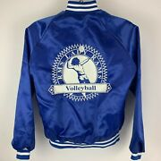 Vintage Volleyball Womens Small Satin Bomber Jacket Rms Lady Rams Blue Usa Made