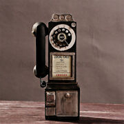 Antique Telephone Old Fashion Rotary Classic Dial Pay Phone Model Vintage Booth