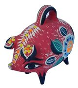 Vintage Hand Painted Colorful Ceramic Piggy Bank With Coins - Very Rare