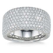 1.85ct Round Brilliant Cut Natural Diamond Pave Band Ring In 14kt White Gold