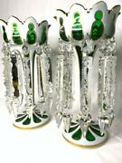 Pair Of Antique Bohemian Moser Green Overlay Cut Glass Mantle Lusters Prisms Lus