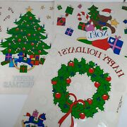 Vintage Lillian Vernon Christmas Window Clings Lot Of 3 Sets Holiday Decorations