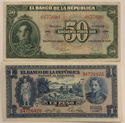 1958 50 Pesos And 1953 1 Peso Colombia Unc Like Must Have Notes