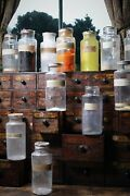 Early 20thc French Glass Chemist Apothecary Pharmacy Dry Dispensing Jars Antique