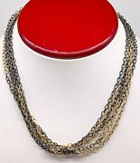 French Signed 10000 18k Yellow Black Gold 16 Multi Strand Necklace 30g