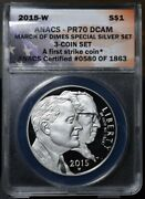 2015-w March Of Dimes Commemorative 1 - Anacs Pr70 Dcam First Strike