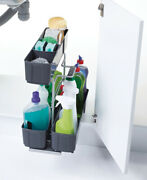 Kitchen Cabinet Cleaning Supply Caddy Rollout Storage Removable Organizer Grey