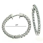 Estate 1.10ct Diamond 14k White Gold 3d Classic Inside Out Hoop Hanging Earrings