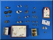 33 Pairs Lot Womens Costume Jewelry Box Earrings Pierced Vintage Clip-on And Screw