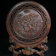 Chinese Antique Decor Wooden Statue Carvings Decorative Screen Modern Home Old