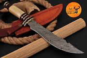 Hand Forged Damascus Steel Hunting Knife With Bone And Brass Guard Handle- Aj 1746