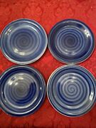 Allied Design Solid Blue Circular Strokes Salad Plates Set Of 4