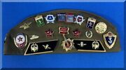 Soviet Pilotka Cap Ussr Cccp Badges Russia Military Hat 18 Pins 3 Patches