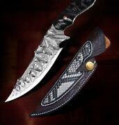 Damascus Steel Vg10 Ebony Tactical Knife Hand Forged Survival Knives Fixed Blade