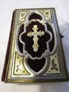 Antique Christian Prayer Book Ivory Cover Cross And Corners 1865 German 410 Pages