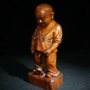 Chinese Old Beijing Boxwood Antiques Roadshow Decor Wooden Statue Carvings Wood