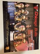 Chicago Bulls 6 Peat Championship Photo With Tropies Held By Mj And Other Stars