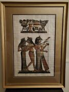 Professional Framed Vintage Egyptian Papyrus Painting 3 Musicians