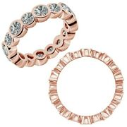 2 Carat Real White Diamond Bubbles Antique Eternity Band Ring 14k Rose Gold
