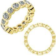 2 Carat Real White Diamond Bubbles Antique Eternity Band Ring 14k Yellow Gold