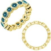 0.75 Carat Real Blue Diamond Bubbles Antique Eternity Band Ring 14k Yellow Gold