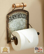 Farmhouse Toilet Paper Holder - Wall-mounted With Distressed Metal