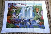 Hand Made Cross Stitch Crane Waterfall Design 47x35 Counted Thread Embroidery