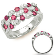 Wide 1ct Diamond And Aaa Ruby 14kt White Gold 3d Round Three Row Anniversary Ring