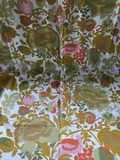 1975 Vintage Everfast Inc Printed Fabric Polished Cotton Melange In Gold 36.5x36