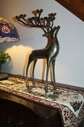Vintage Pottery Barn Style Solid Metal Reindeer 10 Candle Holder Beautiful