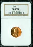 1986 Lincoln Cent Ngc Ms67 Pq Blast Red Spotless